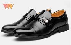 Formal shoes men loafers men slip on men dress shoes business shoes men oxford leather black 39 leather