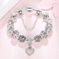 Luxury Brand Women Bracelet Silver Plated Crystal Charm Bracelet for Women Beads Jewelry Gift silver 16cm