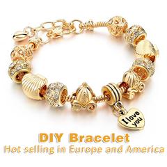 2019DIY Women Bracelet Luxury brand Bracelet gold-plated crystal jewelry bracelet pearl jewelry gift golden 0