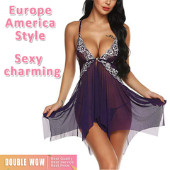 New style of lace translucent meshhot selling in Europe and America sexy suspender skirt sleepwear purple s
