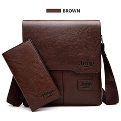 JEEP BULUO Man Messenger Bag Pu Leather Shoulder Bags Business Crossbody Casual Bag Famous Brand brown one size