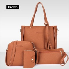 Women's bags 2019 fashion lychee pattern four-piece mother bag slung shoulder bag brown one size