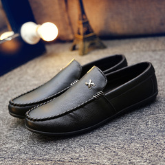 Men's shoes Korean version 2019 peas shoes lazy one pedal men's tide shoes black 39 pu