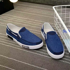 Spring and autumn canvas shoes men's breathable one pedal lazy casual trend shoes Blue 40