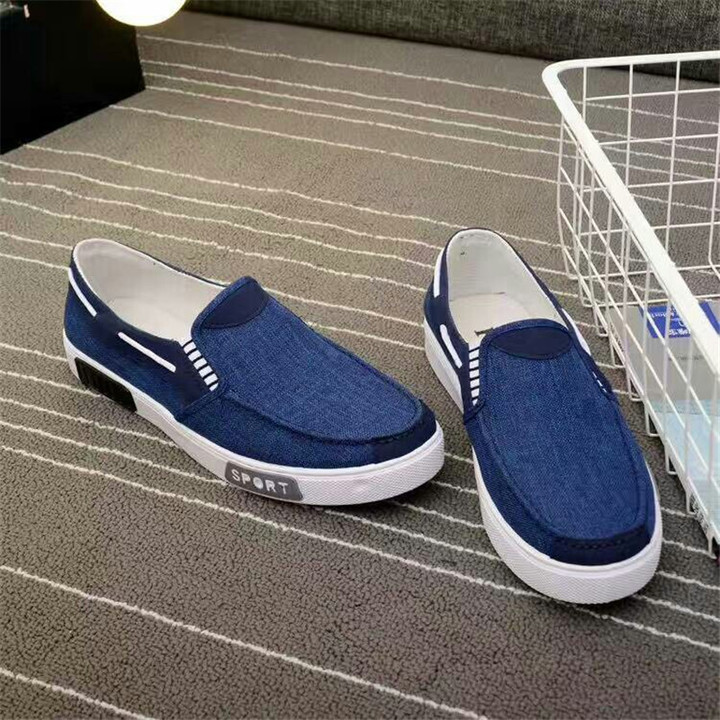 Spring and autumn canvas shoes men's breathable one pedal lazy casual trend shoes Blue 39