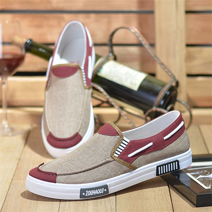 Spring and autumn canvas shoes men's breathable one pedal lazy casual trend shoes coffee 44