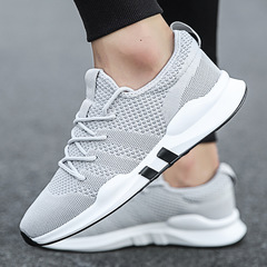 Spring new men's casual shoes Korean men's shoes breathable sports shoes trend running shoes gray 39