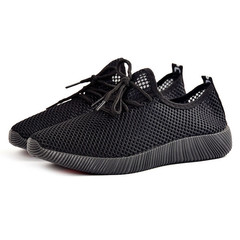 Flat bottom breathable and comfortable mesh shoes 2019 new men's casual shoes black 42 canvas