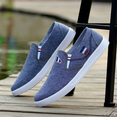 Beef tendon bottom breathable shoes England men's shoes flat bottom one pedal lazy shoes blue 39 canvas