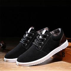New Korean men's non-slip lace sports and leisure flat bottom shoes fashion wild men's shoes black 39 cotton