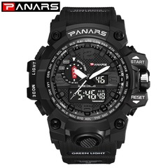 2019 new two-time multi-function outdoor sports large dial double display watch black one size