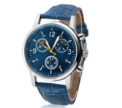Men's Watch Quartz Men's Watch Blu-ray Glass Belt Watch Men's Watch blue one size