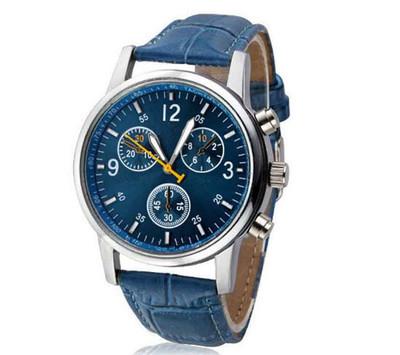 Men's Watch Quartz Men's Watch Blu-ray Glass Belt Watch Men's Watch blue one size