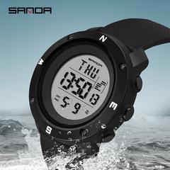 Fashion luminous sports electronic watch multi-function luminous waterproof watch Black White one size