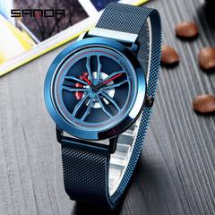 Waterproof Korean fashion student watch sports business men's watch net with quartz watch blue one size