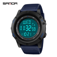 New student sports simple waterproof outdoor digital display luminous large dial table black blue one size