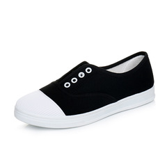 2019 new canvas shoes flat casual shoes a pedal lazy shoes white shoes Black 35