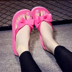Summer Slippers Korean Bow Flip Flip Flops Thick Slip High Heel Slippers Women's Rose Red 36