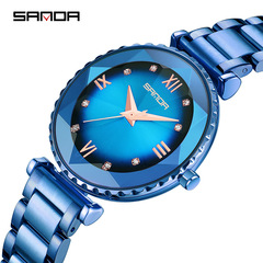 New trend starry watch quartz watch personality fashion ladies watch blue one size