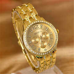 Double row diamond-studded steel belt watch fashion trend quartz watch golden one size
