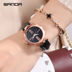 New watch female fashion trend waterproof Korean version of the simple leather belt ladies watch black one size