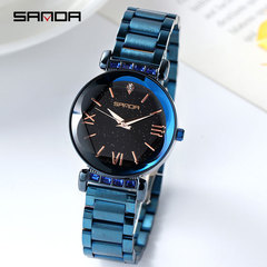 Trend women's watch fashion big dial fashion watch starry steel belt ladies watch blue one size