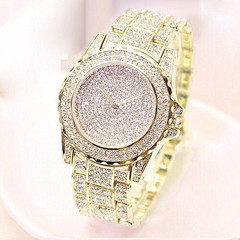 Starry steel belt watch genuine rhinestone ladies watch steel belt couple quartz watch golden one size