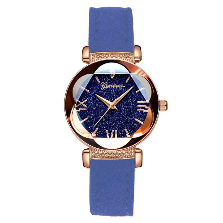 2019 diamond star watch fashion quartz watch water personality belt ladies watch blue one size