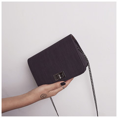 New women's bag solid color simple Japanese and Korean chain single shoulder diagonal package black one size