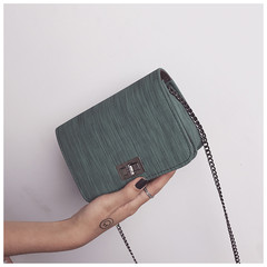 New women's bag solid color simple Japanese and Korean chain single shoulder diagonal package green one size