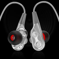 In-ear double-motion headset HIFI headset for iphone Android phone Silver