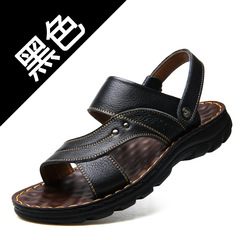 Sandals men 2019 summer new men's casual beach shoes leather fashion breathable Black 38