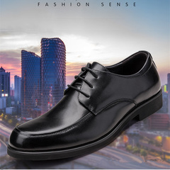Men's dress shoes round head business wedding men's formal shoes wear retro lace-up shoes men black 39 leather shoes