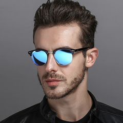2019 new round sunglasses round glasses classic sunglasses driving semi-circular sunglasses blue one size