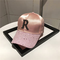 2019 Summer Baseball Cap Women's Pink Sequin Cap Casual Snapback Cap p1