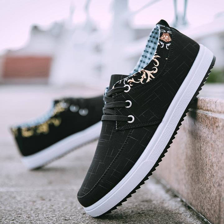 New casual men's shoes canvas shoes casual trend breathable men's shoes black 39 cloth