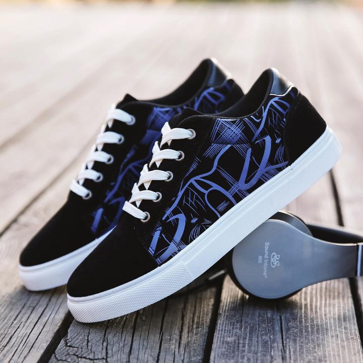 New men's shoes 2019 fashion sports shoes men's straps breathable casual driving shoes blue 39