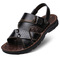 New men's sandals breathable men's shoes high quality leather sandals men's beach shoes black 38