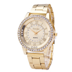 2019 Women's Watch Stainless Steel Watch Women's Rhinestone Luxury Men's Quartz Watch golden one size