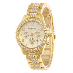 Men's Gold Watch Calendar Watch Lady Diamond Stripe Gold Watch Lady Quartz Watch golden one size