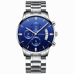 Luxury brand watch men's watch stainless steel watch quartz watch exquisite watch blue one size