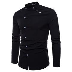 New 2019 Summer Tailored Double Men's Shirt Slim Long Sleeve Dress Shirt Men's Casual Shirt Men black M
