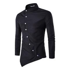 New shirt men's shirt Slim personality 2019 men's cotton shirt long sleeve asymmetric casual wear black l