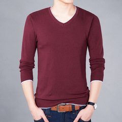New autumn brand men's casual sweater fashion O-neck striped slim knit men's sweater pullover red M