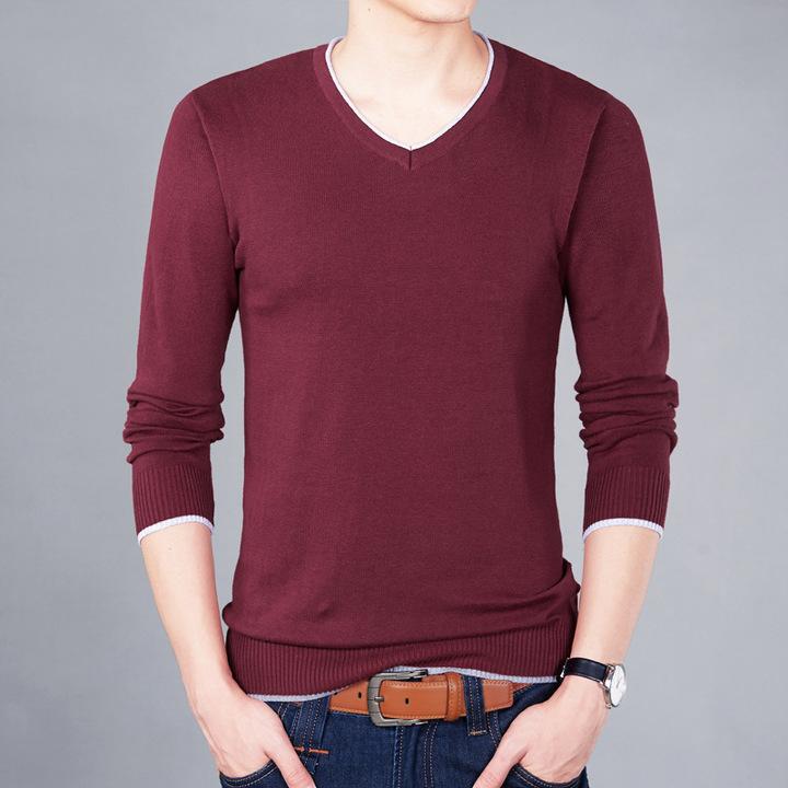 New autumn brand men's casual sweater fashion O-neck striped slim knit men's sweater pullover red M
