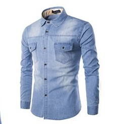 2019 personality men's casual men's jeans shirt Slim denim long-sleeved solid color shirt top light blue m
