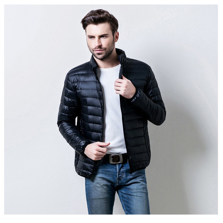New men's clothes winter light duck down jacket men's solid color warm jacket top black m