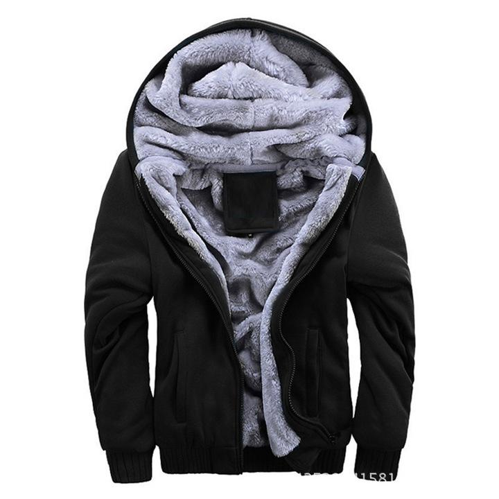 New arrival men's autumn and winter warm fleeced lined juniors hoodie casual zipper jacket parka black m