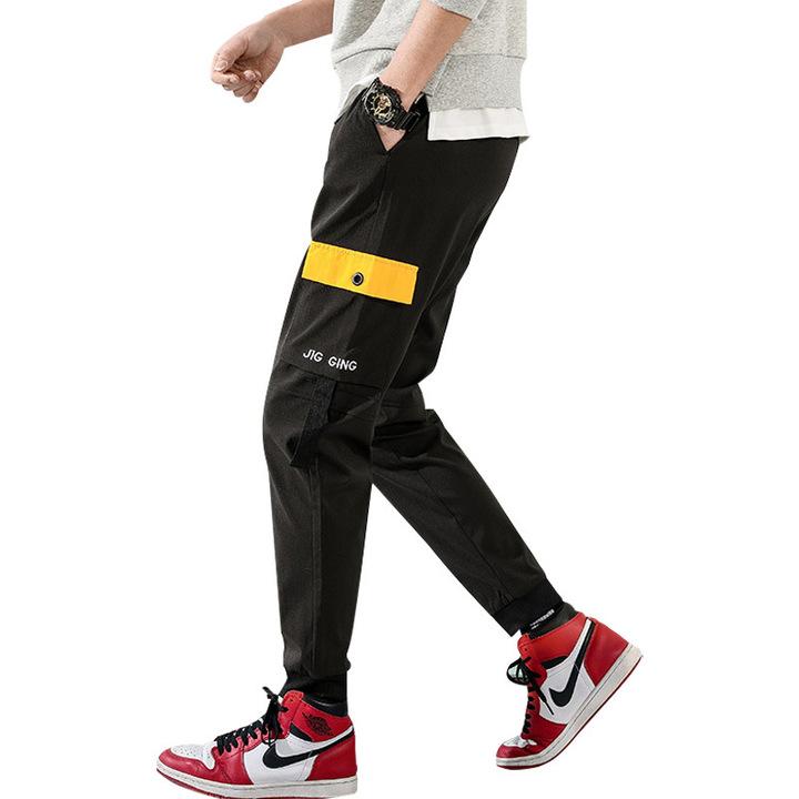 Men's casual pants overalls men's nine pants students long pants tide men's harem pants black m