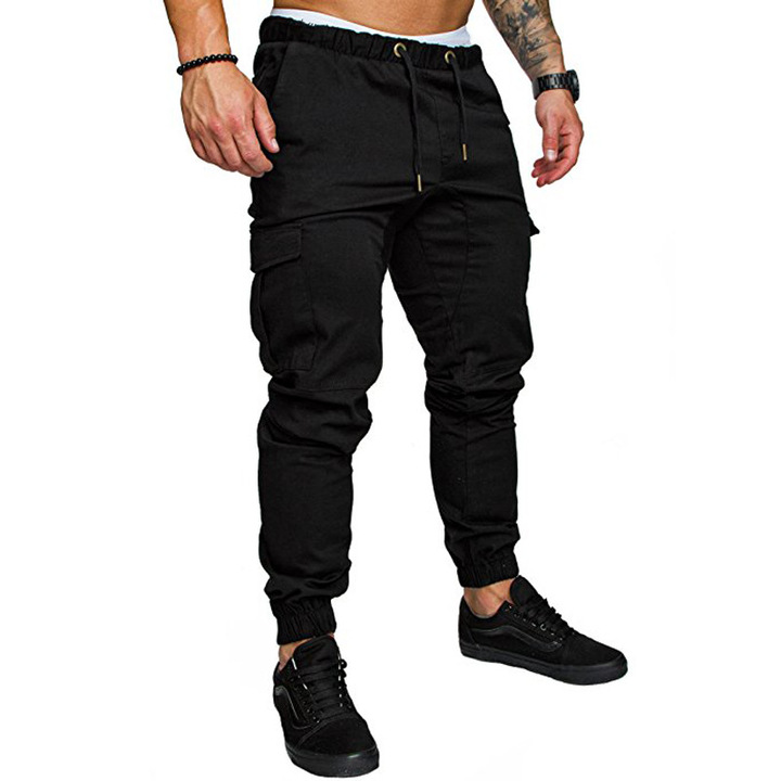 2019 foreign trade explosion pants multi-pocket trousers men's pants casual pants black m